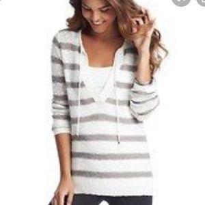 Loft Striped Linen Split Neck Pullover Sweater Top